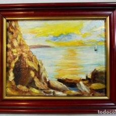 Arte: OLEO SOBRE TABLEX, PAISAJE COSTERO PUESTA DE SOL, FIRMADO. Lote 195383863