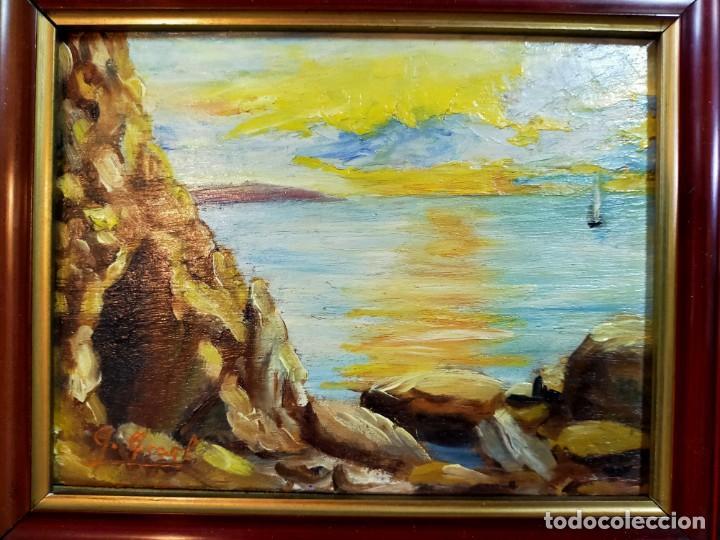 Arte: OLEO SOBRE TABLEX, PAISAJE COSTERO PUESTA DE SOL, FIRMADO - Foto 2 - 195383863