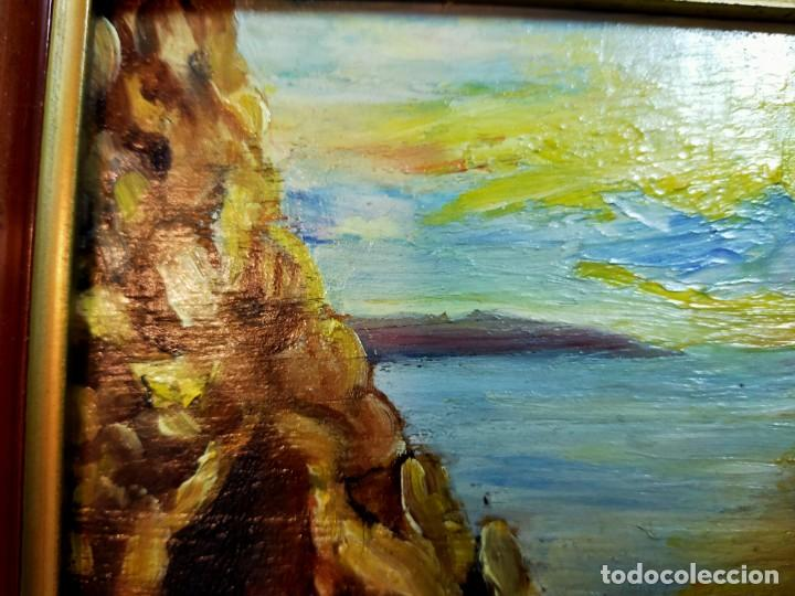 Arte: OLEO SOBRE TABLEX, PAISAJE COSTERO PUESTA DE SOL, FIRMADO - Foto 3 - 195383863