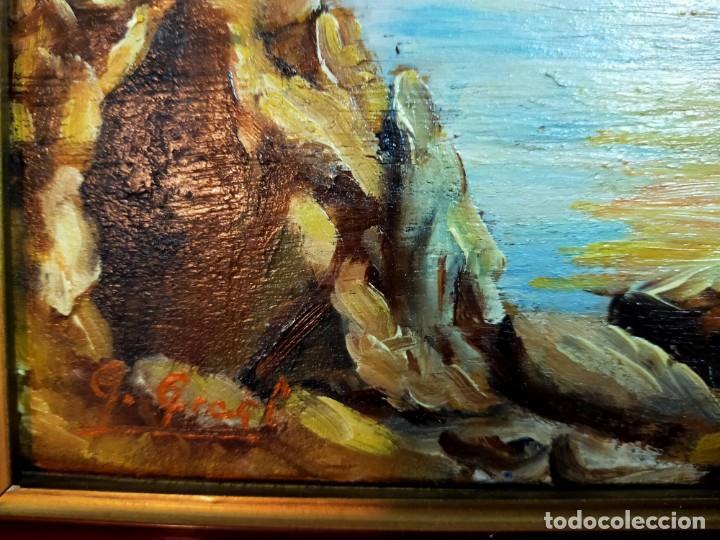 Arte: OLEO SOBRE TABLEX, PAISAJE COSTERO PUESTA DE SOL, FIRMADO - Foto 4 - 195383863