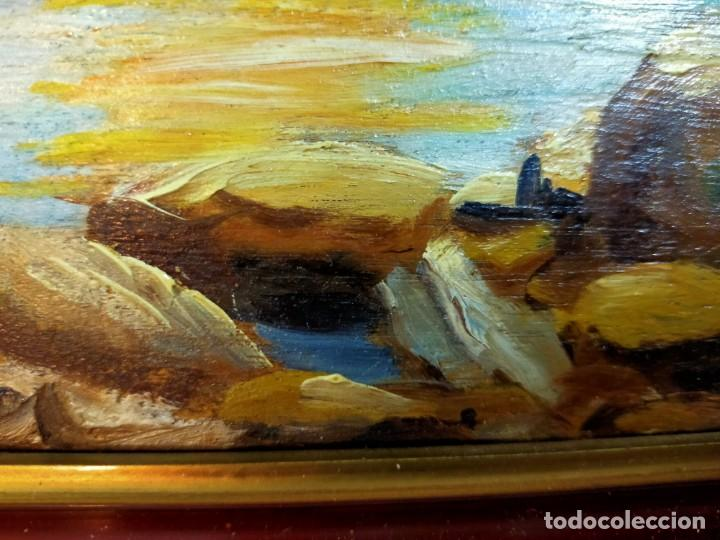 Arte: OLEO SOBRE TABLEX, PAISAJE COSTERO PUESTA DE SOL, FIRMADO - Foto 6 - 195383863