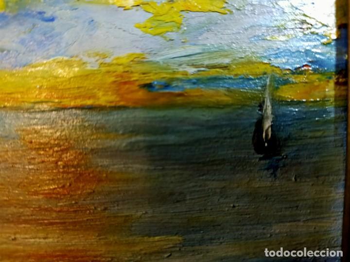 Arte: OLEO SOBRE TABLEX, PAISAJE COSTERO PUESTA DE SOL, FIRMADO - Foto 7 - 195383863