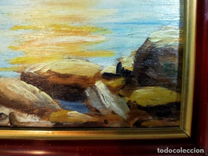 Arte: OLEO SOBRE TABLEX, PAISAJE COSTERO PUESTA DE SOL, FIRMADO - Foto 8 - 195383863
