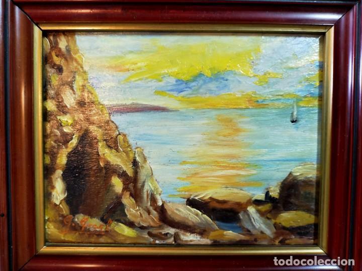 Arte: OLEO SOBRE TABLEX, PAISAJE COSTERO PUESTA DE SOL, FIRMADO - Foto 9 - 195383863