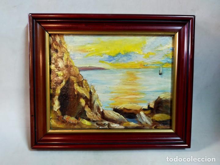 Arte: OLEO SOBRE TABLEX, PAISAJE COSTERO PUESTA DE SOL, FIRMADO - Foto 10 - 195383863