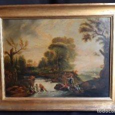 Arte: PAISAJE FLUVIAL. ÓLEO SOBRE LIENZO, FRANCIA O ITALIA. SIGLO XVIII - XIX.. Lote 195386860