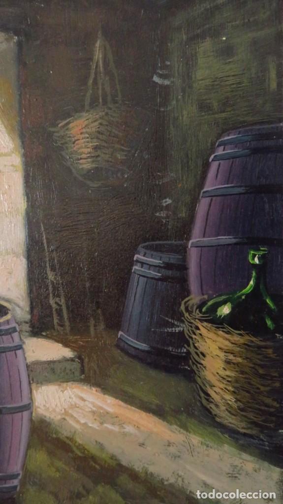 DOS OLEOS SOBRE TABLA FIRMADOS. TEMA RURAL, BARRILES DE VINO (Arte - Pintura - Pintura al Óleo Contemporánea )