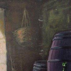 Arte: DOS OLEOS SOBRE TABLA FIRMADOS. TEMA RURAL, BARRILES DE VINO. Lote 195388046
