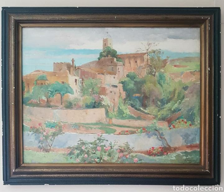 OLEGUER JUNYENT SANS (BARCELONA, 1876-1956) - ESPLUGAS DE LLOBREGAT.OLEO/TELA.FIRMADO.1938. (Arte - Pintura - Pintura al Óleo Antigua sin fecha definida)
