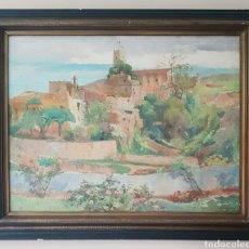 Arte: OLEGUER JUNYENT SANS (BARCELONA, 1876-1956) - VISTA ESPLUGAS DE LLOBREGAT.OLEO/TELA.FIRMADO.1938.. Lote 195388607