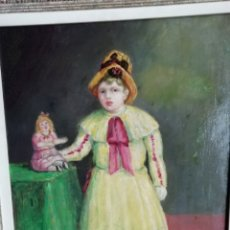 Arte: NENA I NINA, EXPLENDIDO OLEO DE MARIAN PIDELASERRA I BRIAS, FIRMA 1940 TITULADO AL DORSO 46 X 38 CM. Lote 195399153