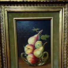 Arte: CUADRO OLEO SOBRE TABLA .FRUTERO -PINTOR J. CABANES - MARCO PINTADO PAN DE ORO. Lote 195447472