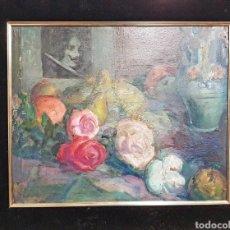 Arte: VICENTE NAVARRO ROMERO (VALENCIA 1888-BARCELONA 1978) BODEGÓN Y RETRATO ,ÓLEO SOBRE CARTÓN 56 X 44. Lote 195453476