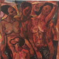 Arte: N'DAMVU TSIKU PEZO / BOMA - CONGO / 1939 - 1997 / AFRICAN ARTIST. Lote 195474631