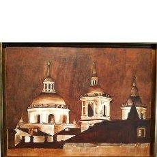 Arte: MONASTERIO SAN LORENZO DE EL ESCORIAL COLLAGE-ÓLEO POR MERCEDES SOS. Lote 195516131