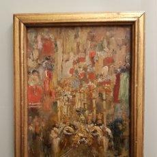 Arte: CONSTANTINO GÓMEZ SALVADOR (VALENCIA ,1864-1937) PROCESION CORPUS 1900-20, ÓLEO/TABLA 23'5 X 18 CM.. Lote 195518723