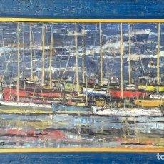 Arte: ANTONI TRULLS PONS (1925 - 2009). PUERTO PESQUERO. ÓLEO SOBRE LIENZO. FIRMADO. ENMARCADO. AÑOS 50.. Lote 195534397