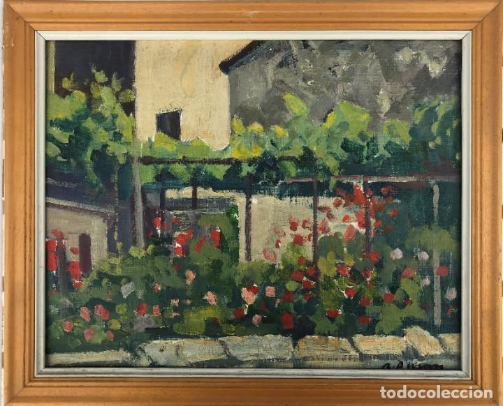 Arte: Rafael Duran Benet (1931-2015) jardín óleo - Foto 2 - 195537525