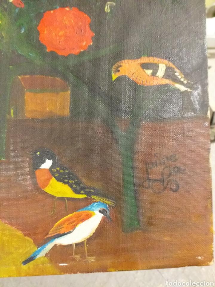 Arte: PRECIOSO Y ANTIGUO CUADRO FLORES Y PAJAROS, FIRMADO JAIME POU? - Foto 2 - 195576426