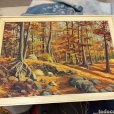 Arte: ANTIGUO Y BONITO CUADRO PINTADO BOSQUE EN OTOÑO CREO QUE EN MADERA O TABLA. Lote 195577596