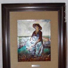 Arte: ESMALTE PINTADO A MANO OBRA LA PASTORA DE JEAN FRANCOIS MILLET. Lote 195582178