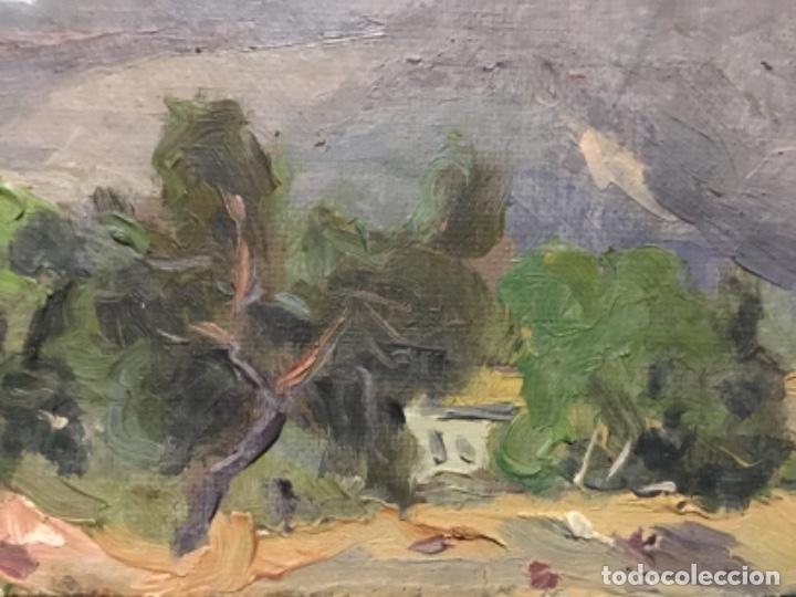 Arte: Óleo sobre tela pegado a tablex.firma ilegible.escuela catalana. - Foto 4 - 195590057