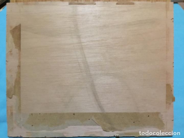Arte: Óleo sobre tela pegado a tablex.firma ilegible.escuela catalana. - Foto 7 - 195590057