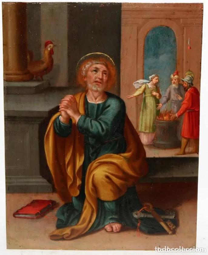 ÓLEO S/COBRE -LAS LÁGRIMAS DE SAN PEDRO-. ESC BARROCA SEVILLANA SIGLO XVII. DIM.- 54X47 CMS (Arte - Pintura - Pintura al Óleo Antigua siglo XVII)