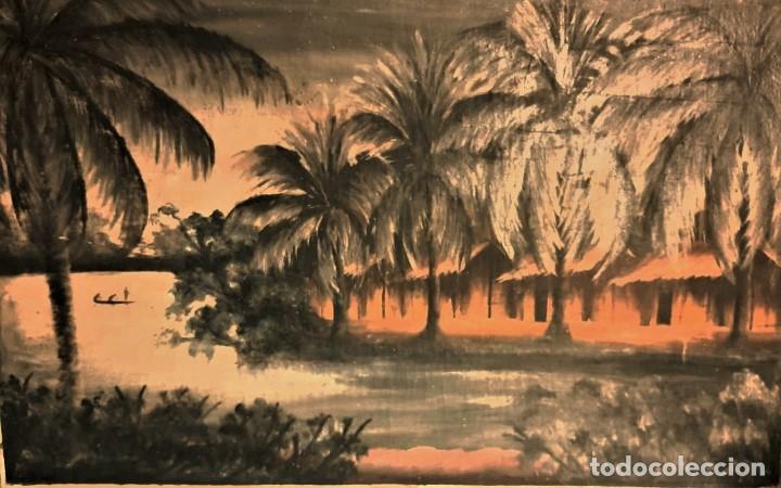 ESCUELA COLONIAL (LA MARTINICA) AÑOS 40-50, PESCADORES Y CASAS CRIOLLAS,ÓLEO / TABLA E,H, 47 X 77´50 (Arte - Pintura - Pintura al Óleo Moderna sin fecha definida)