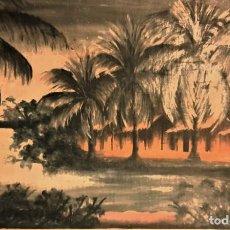 Arte: ESCUELA COLONIAL (LA MARTINICA) AÑOS 40-50, PESCADORES Y CASAS CRIOLLAS,ÓLEO / TABLA E,H, 47 X 77´50. Lote 195688221
