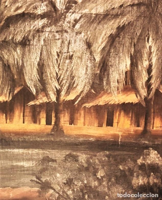 Arte: ESCUELA COLONIAL (LA MARTINICA) AÑOS 40-50, PESCADORES Y CASAS CRIOLLAS,ÓLEO / TABLA E,H, 47 x 77´50 - Foto 3 - 195688221