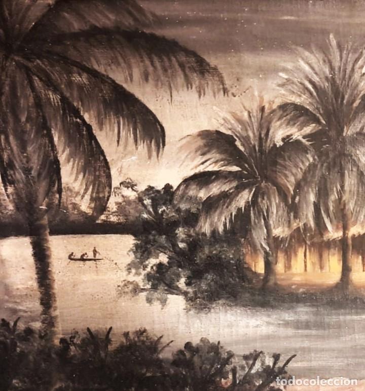 Arte: ESCUELA COLONIAL (LA MARTINICA) AÑOS 40-50, PESCADORES Y CASAS CRIOLLAS,ÓLEO / TABLA E,H, 47 x 77´50 - Foto 4 - 195688221