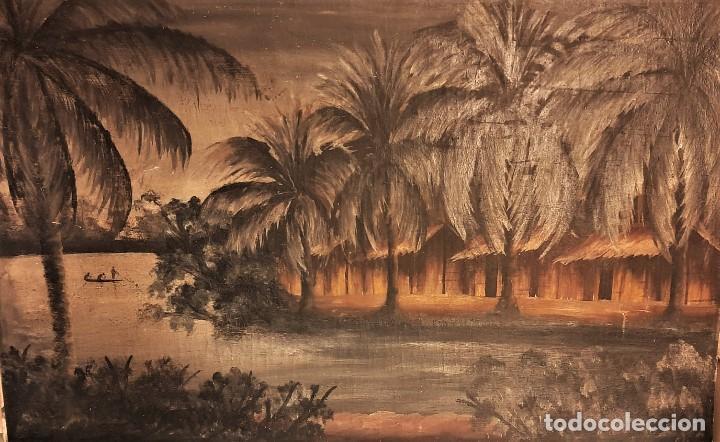 Arte: ESCUELA COLONIAL (LA MARTINICA) AÑOS 40-50, PESCADORES Y CASAS CRIOLLAS,ÓLEO / TABLA E,H, 47 x 77´50 - Foto 8 - 195688221