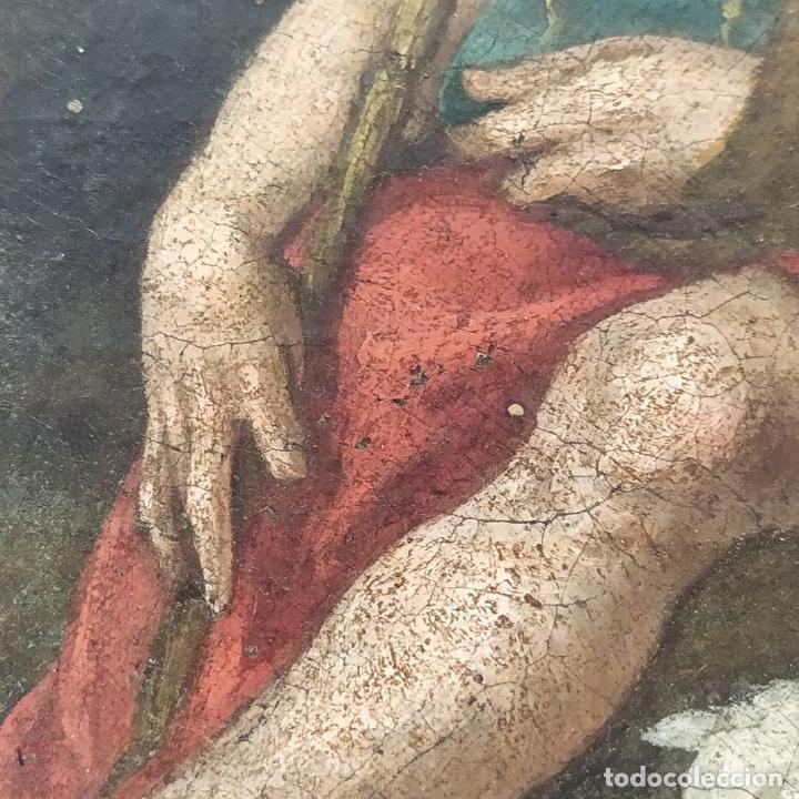 Arte: SAN JUAN EN EL DESIERTO. ÓLEO SOBRE LIENZO. ESCUELA ITALO-FLAMENCA. PAISES BAJOS. SIGLO XVII - Foto 10 - 195719157