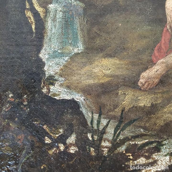 Arte: SAN JUAN EN EL DESIERTO. ÓLEO SOBRE LIENZO. ESCUELA ITALO-FLAMENCA. PAISES BAJOS. SIGLO XVII - Foto 11 - 195719157