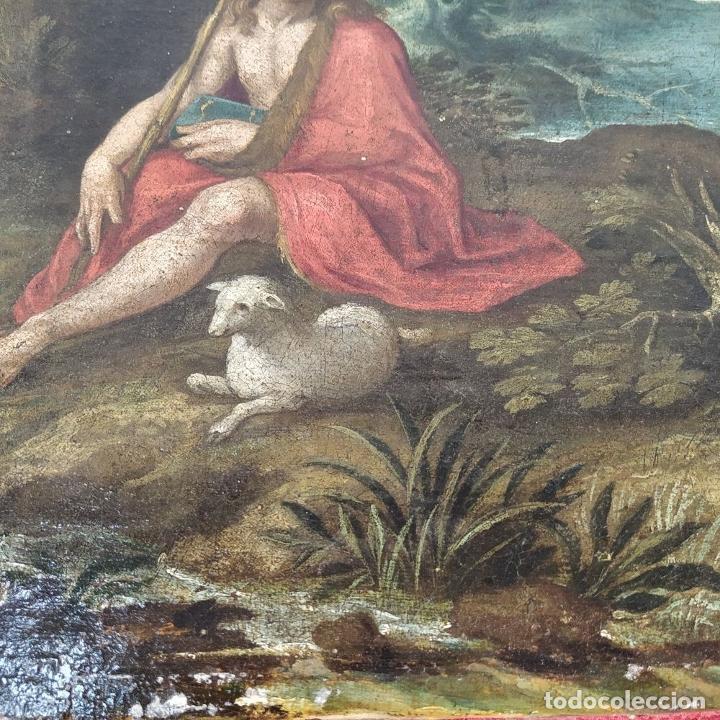 Arte: SAN JUAN EN EL DESIERTO. ÓLEO SOBRE LIENZO. ESCUELA ITALO-FLAMENCA. PAISES BAJOS. SIGLO XVII - Foto 28 - 195719157