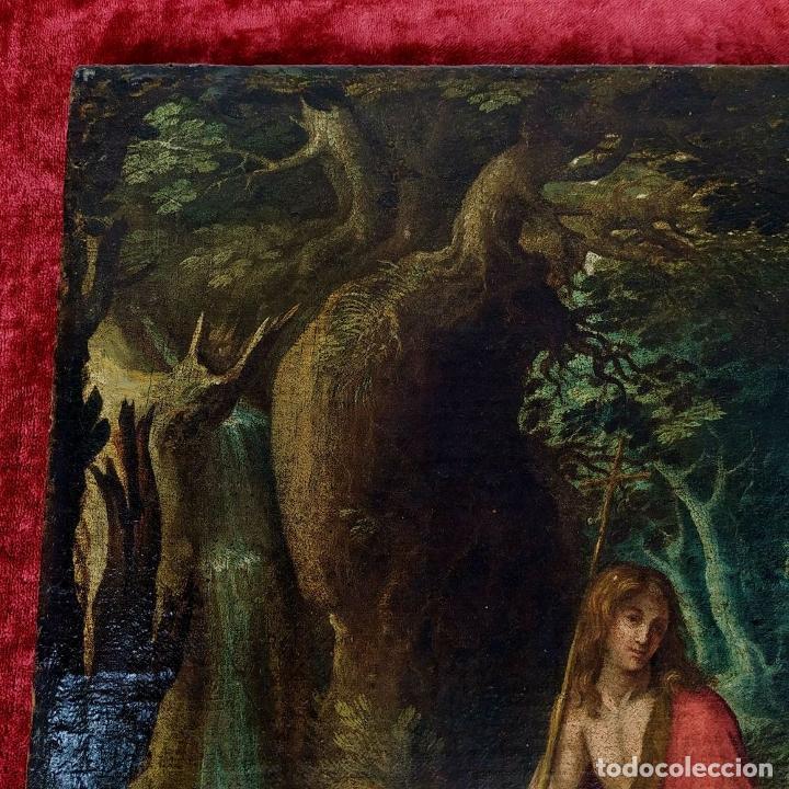 Arte: SAN JUAN EN EL DESIERTO. ÓLEO SOBRE LIENZO. ESCUELA ITALO-FLAMENCA. PAISES BAJOS. SIGLO XVII - Foto 40 - 195719157