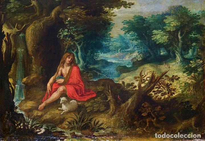 SAN JUAN EN EL DESIERTO. ÓLEO SOBRE LIENZO. ESCUELA ITALO-FLAMENCA. PAISES BAJOS. SIGLO XVII (Arte - Pintura - Pintura al Óleo Antigua siglo XVII)