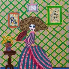 Arte: MENINA CON ABANICO (30X40 CM) OBRA DE RUTH CALDERÍN (LAS PALMAS DE GRAN CANARIA 1977). Lote 195817970