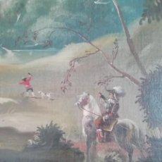 Arte: OLEO SOBRE LIENZO HALCONERO CACERIA. Lote 195901646