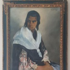 Arte: ERNESTO SANTASUSAGNA I SANTACREU (1900-1964) - GITANA CON MANTÓN DE MANILA.OLEO/TELA.FIRMADO.C1930.. Lote 195914250