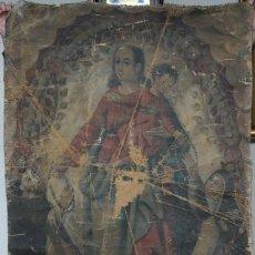 Arte: ANTIGUO LIENZO VIRGEN DEL ROSARIO 112X77CM.. Lote 195947872