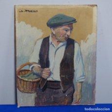 Arte: ÓLEO SOBRE TABLA DE ISIDRE ODENA(PINTOR DE TERRASSA).GENT DEL MERCAT.. Lote 196019266