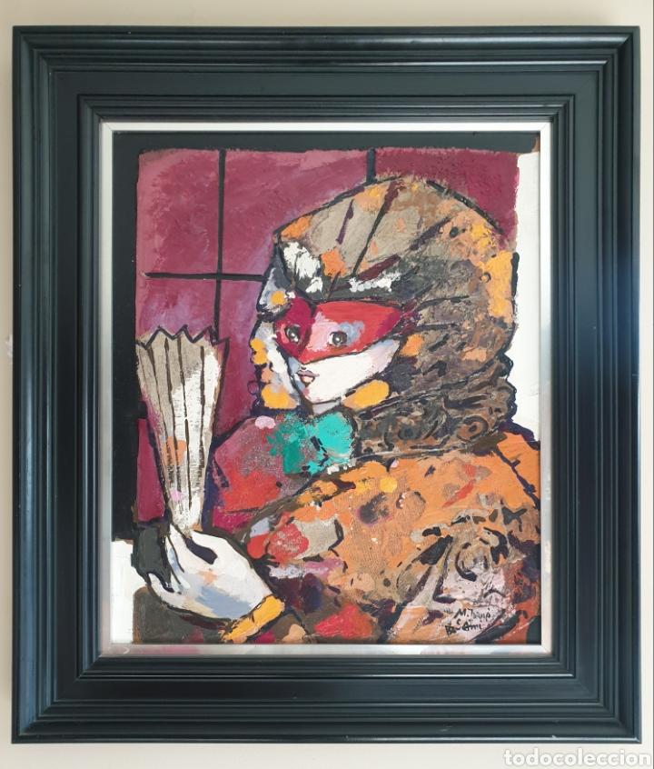 Arte: Miguel Torner de Semir (Santa Pau, 1938) - Dama con Antifaz y Abanico.Oleo/Tabla.Firmado. - Foto 2 - 196077395