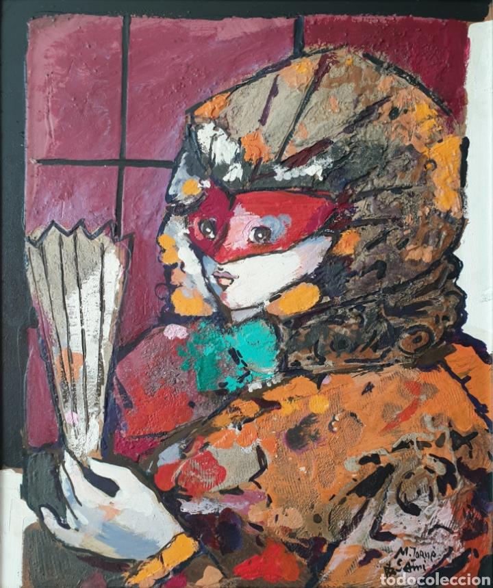 MIGUEL TORNER DE SEMIR (SANTA PAU, 1938) - DAMA CON ANTIFAZ Y ABANICO.OLEO/TABLA.FIRMADO. (Arte - Pintura - Pintura al Óleo Contemporánea )