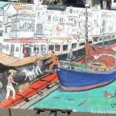 Arte: ALMERIMAR, BARCO EN LA DÁRSENA 3,ÓLEO LIENZO EN BASTIDOR, 50X60 CM. DE CRESPO. Lote 196167182