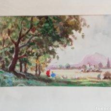 Arte: JOAQUÍN MARSILLACH, OLEO SOBRE PAPEL PAISAJE OLOT. Lote 196169972