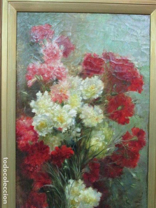 Arte: Antiguo Bodegón con Flores - Óleo sobre Tela - Bonitos Colores - Marco Original - S. XIX - Foto 2 - 196197908