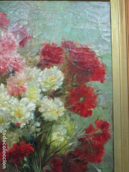 Arte: Antiguo Bodegón con Flores - Óleo sobre Tela - Bonitos Colores - Marco Original - S. XIX - Foto 3 - 196197908