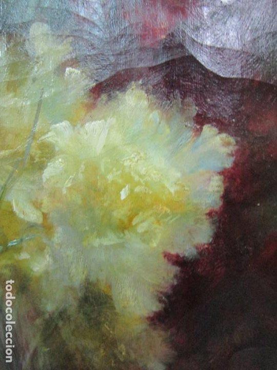 Arte: Antiguo Bodegón con Flores - Óleo sobre Tela - Bonitos Colores - Marco Original - S. XIX - Foto 4 - 196197908
